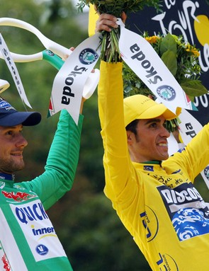 The polka dot, green, yellow and white jersey winners at last year's Tour