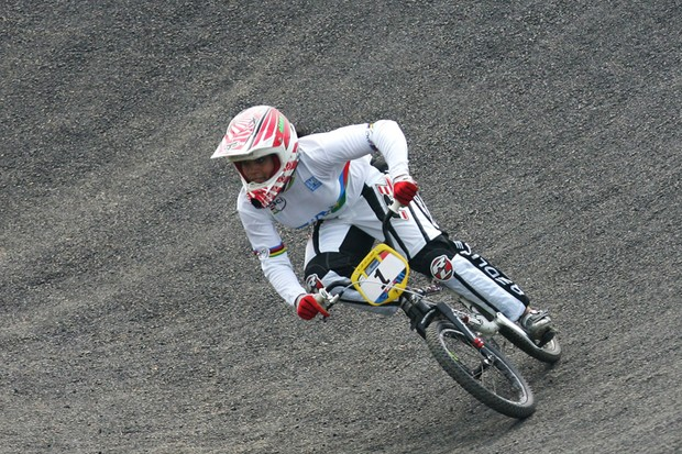 Shanaze Reade in action during last year's BMX test event in Beijing