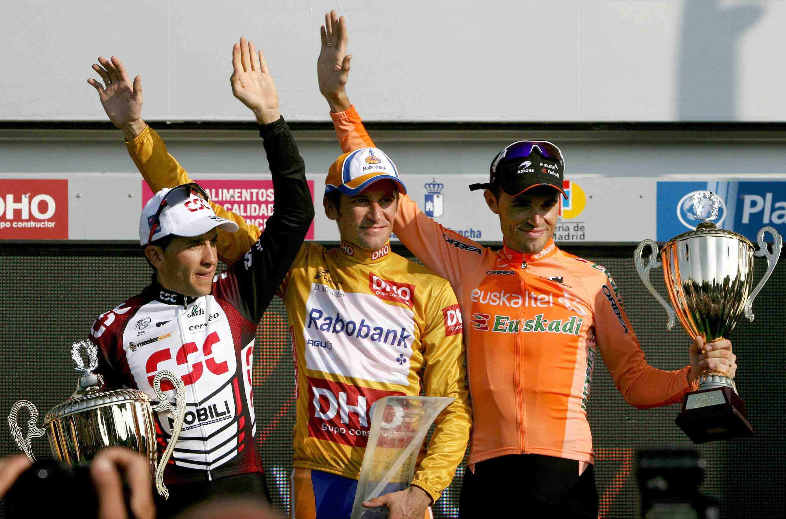 Final 2007 Vuelta podium: Carlos Sastre, Denis Menchov, and Samuel Sanchez.