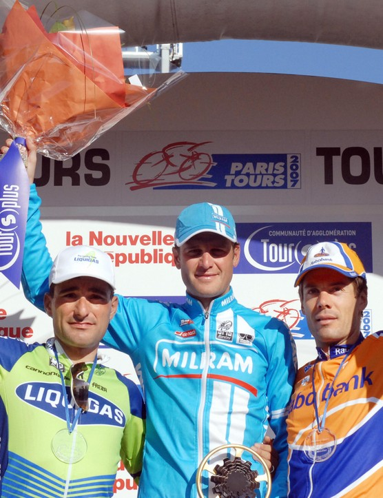 The top three: Francesco Chicchi  (Liquigas), Alessandro Petacchi (Milram) and Oscar Freire (Raboban