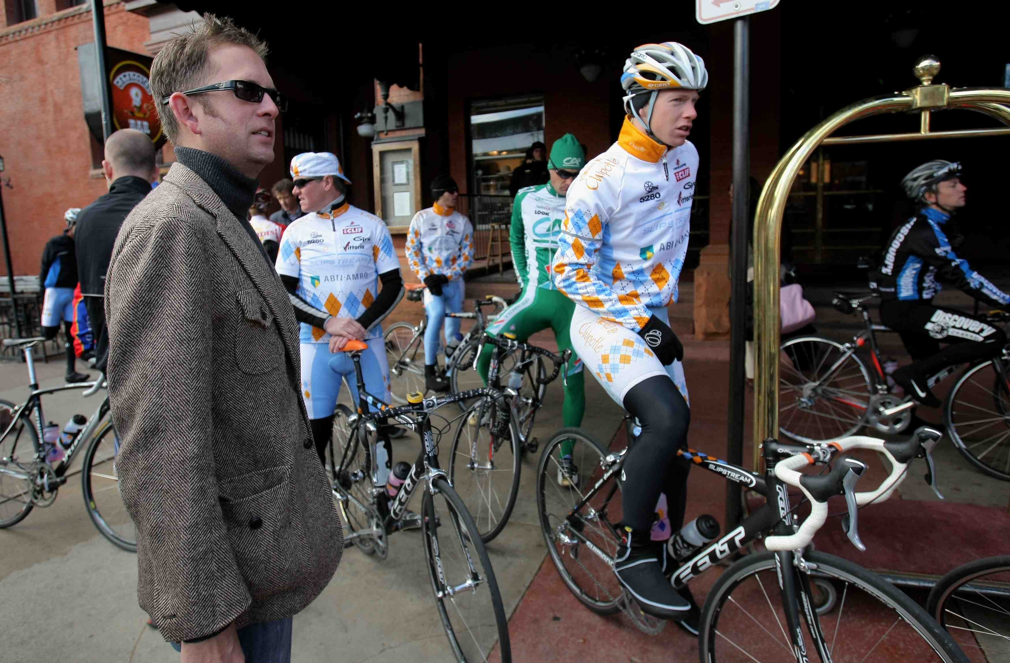 Slipstream director Jonathan Vaughters (L) at the team launch in November 2007.