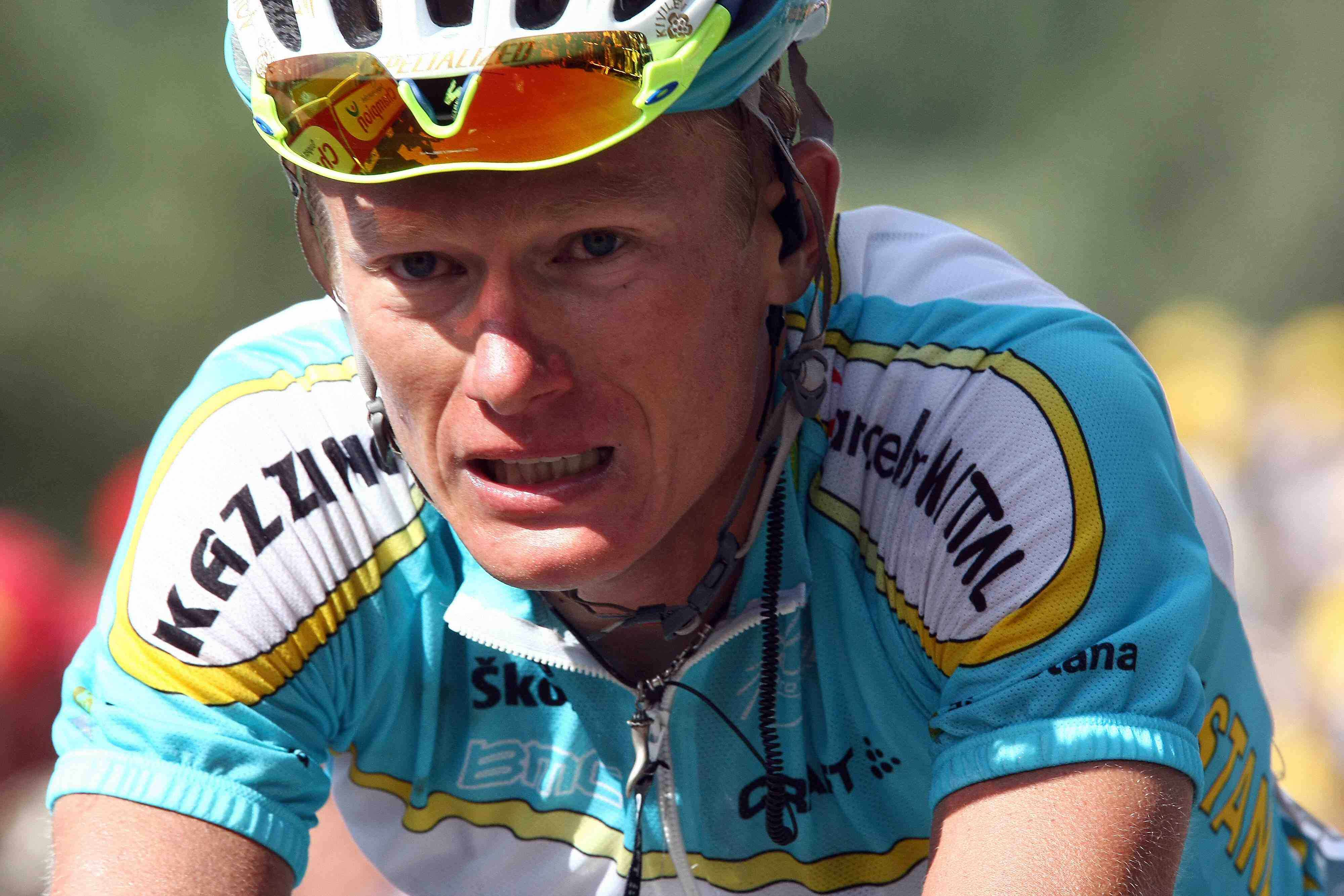 Kazakhstan pro Alexander Vinokourov racing in the 2007 Tour de France.
