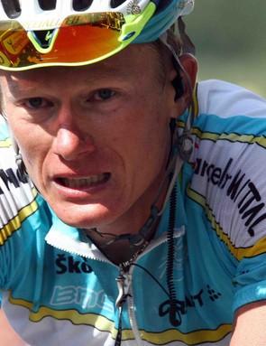 Kazakhstan pro Alexander Vinokourov racing in the 2007 Tour de France.
