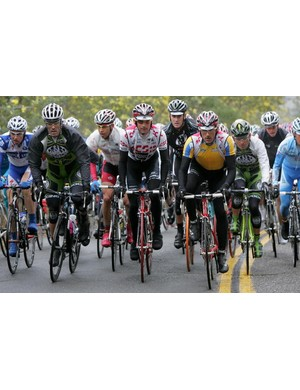 Mario Cipollini and Fabian Cancellara sandwiching Bobby Julich over Trinity Pass.