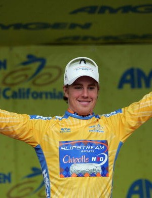 23-year-old Tyler Farrar in the leader's gold jersey.