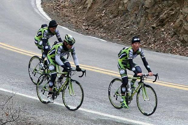 Oscar Sevilla, Santiago Botero and Tyler Hamilton of Rock Racing.