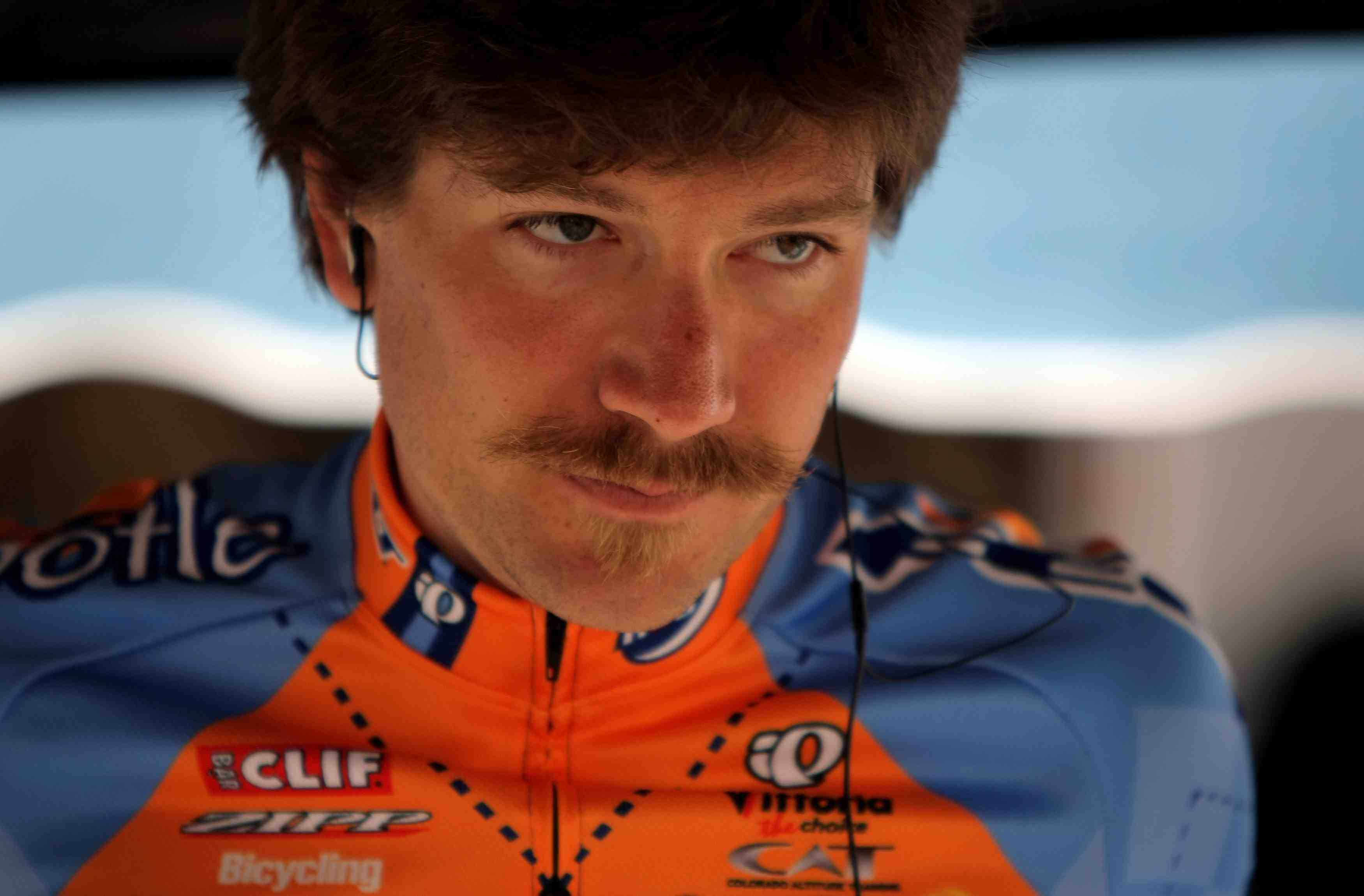 David Zabriskie, sporting his seconds-cheating Van Dyke mustache in February 2008.