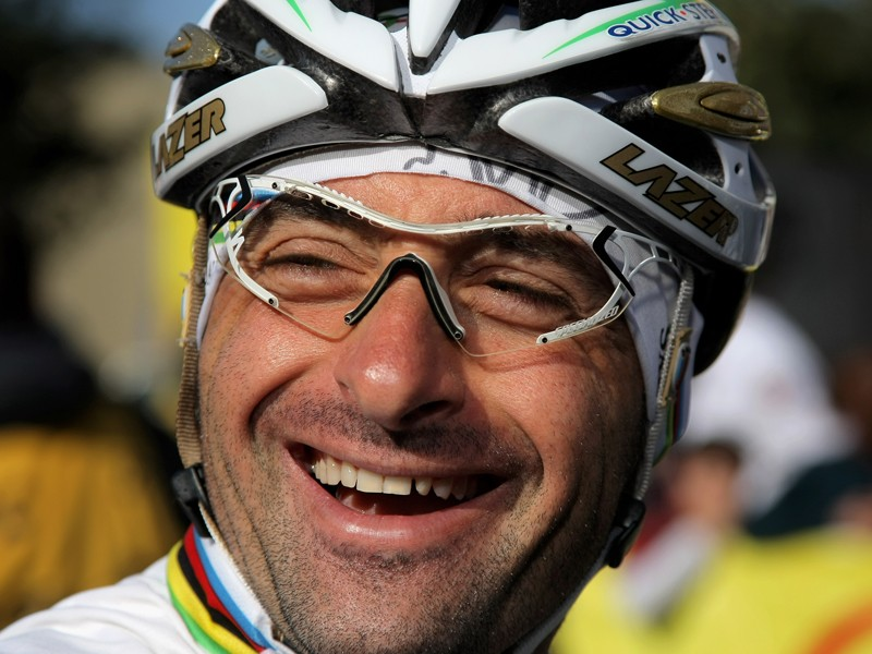 Paolo Bettini destroyed his helmet in a crash in the Six Days of Milan