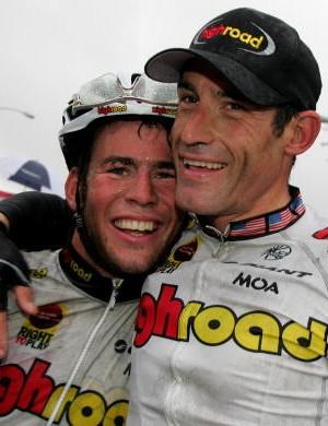 Mark Cavendish (L) and George Hincapie celebrating Hincapie's win in California.