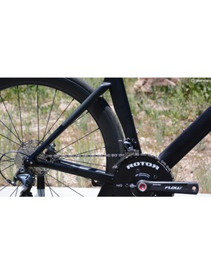 The seat tube shields the rear tire for aero assistance