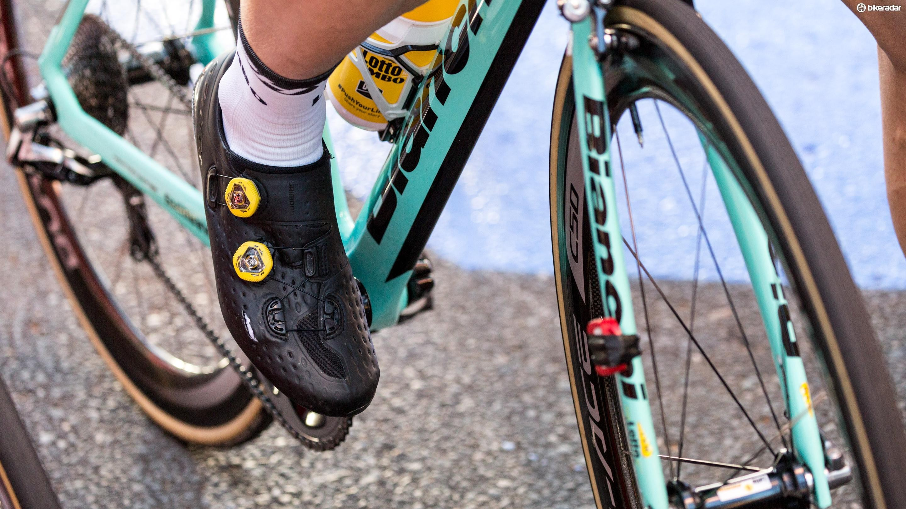 Not everybody's feet fit in the sponsor-provided shoes