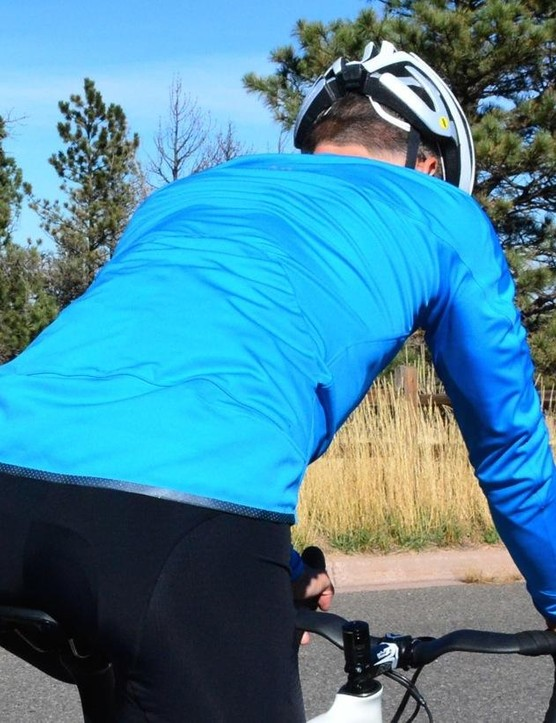 The Corsa uses Gore Windstopper fabric, and features two enormous pockets and a generous tail