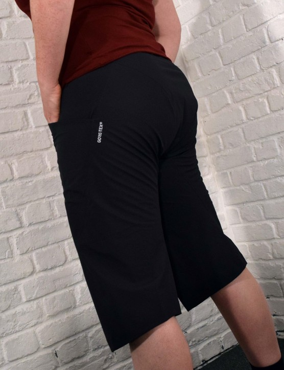 The waterproof Revo shorts sit longer on the leg than most riding shorts for added wet weather protection