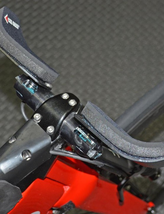 Another view of the bars rotated down parallel to the fork legs