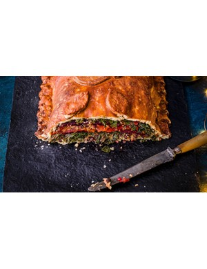 This giant vegan wellington is sure to satisfy some post-ride hunger