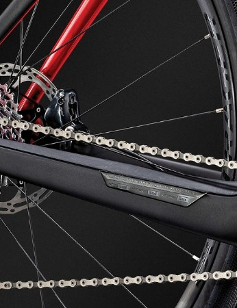 The Domane+ is equipped with a SRAM Force 1 drivetrain and a wide-range cassette