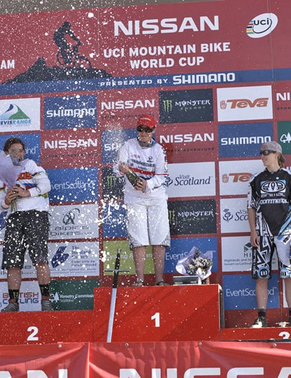 On the podium, Moseley had no problem with the champagne
