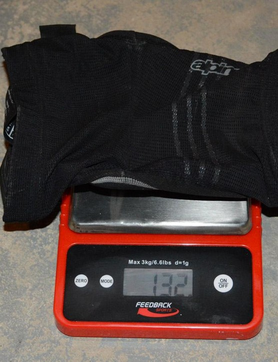 132 grams for each Paragon knee pad