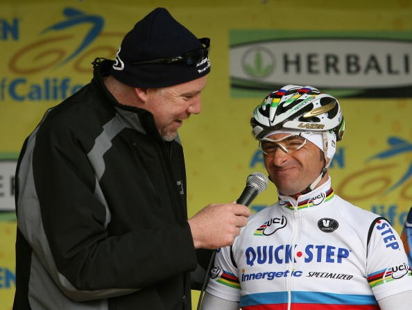 Paolo Bettini talks to Tour of California announcer Dave Towle in February.