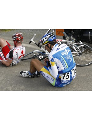 Laurent Mangel (AG2R La Mondiale) picks himself up after a fall during Het Volk