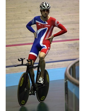 Great Britain's Bradley Wiggins at the Manchester Velodrome.