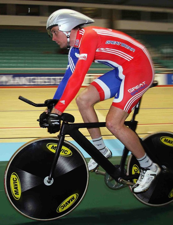 Great Britain's Rob Hayles training for the UCI Track Cycling World Championships at the Manchester Velodrome on March 25, 2008.