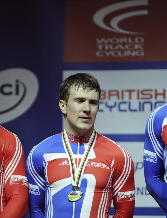 Britain's Jamie Staff, Ross Edgar and Chris Hoy on the podium