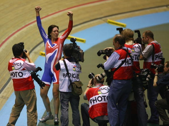 Britain's Rebecca Romero celebrates her gold medal in Manchester.
