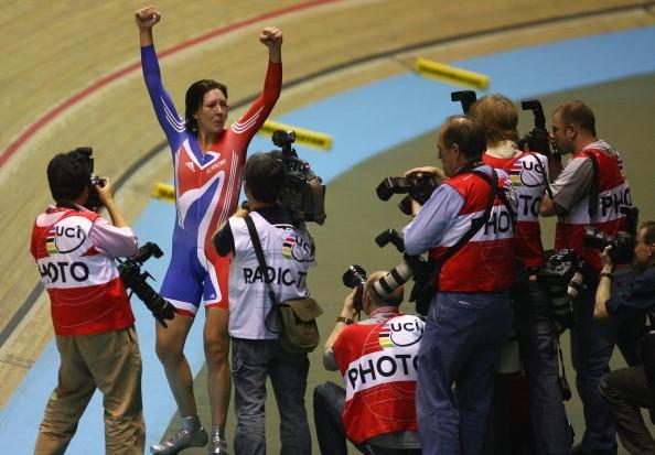 Britain's Rebecca Romero celebrates her gold medal in Manchester.