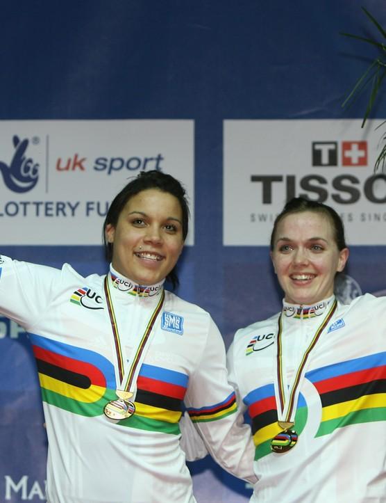 Shanaze Reade & Victoria Pendleton celebrate victory in the women's team sprint