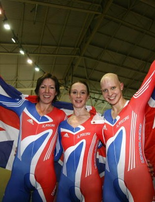GB Women's pursuit team including Rebecca Romero also individual pursuit world champ