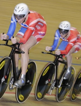 Britain's Wendy Houvenaghel, Joanna Rowsell and Rebecca Romero during the women's team pursuit.