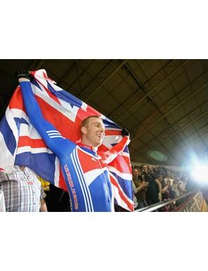 Britain's Chris Hoy celebrates his world championship victory.