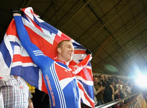 Britain's Chris Hoy celebrates his world championship victory.