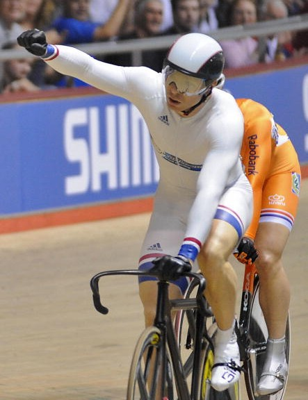 Hoy reacts after winning the second Keirin qualifier.