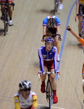 Marianne Vos celebrates her win in Manchester.