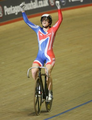 Pendleton celebrates her sprint final victory.