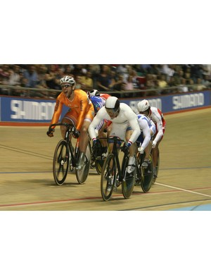 Great Britain's Chris Hoy (white) wins the men's keirin final in Manchester.