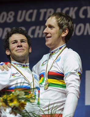 Mark Cavendish and Bradley Wiggins, world champions