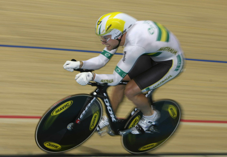 Australia's Ben Kersten in action in the 1km time trial.