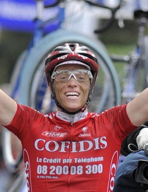 Sylvain Chavanel celebrates victory at the Brabantse Pijl/Fleche Brabanconne March 30, 2008.
