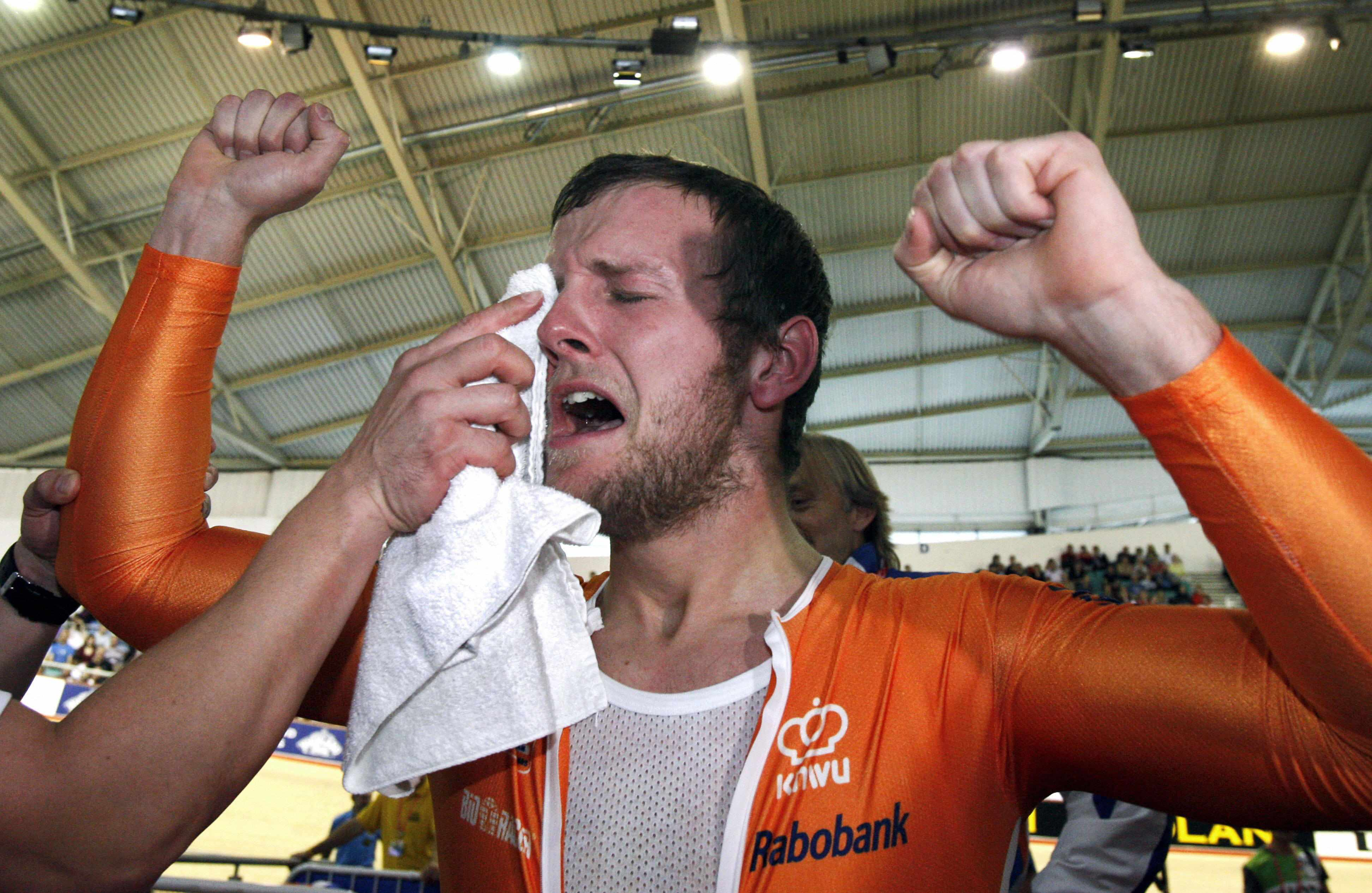 Dutchman Teun Mulder reacts after realising he's the new world champion in the men's 1km time trial