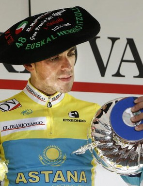 Astana's Alberto Contador wins the Basque tour, and gets to keep the funny hat.