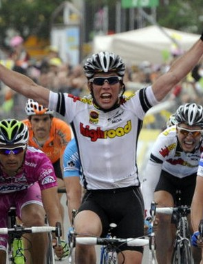 Team High Road's Mark Cavendish winning stage 4 of the '08 Giro.