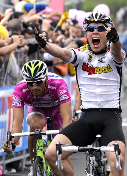 Cavendish, elated to win his first Giro stage May 13.