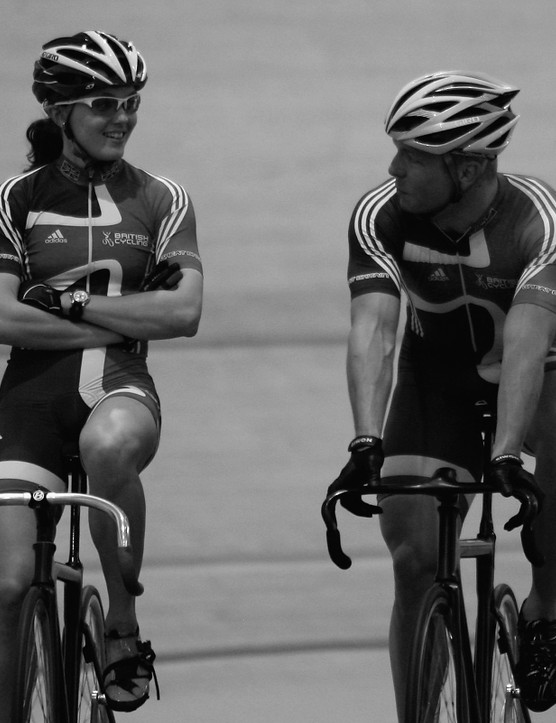 Chris Hoy (right) training with Great Britain team-mate Vicky Pendleton