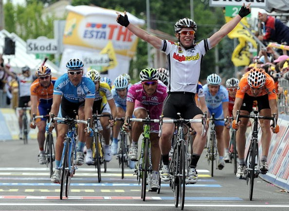 A very happy Cavendish, winning his second Giro stage May 23.