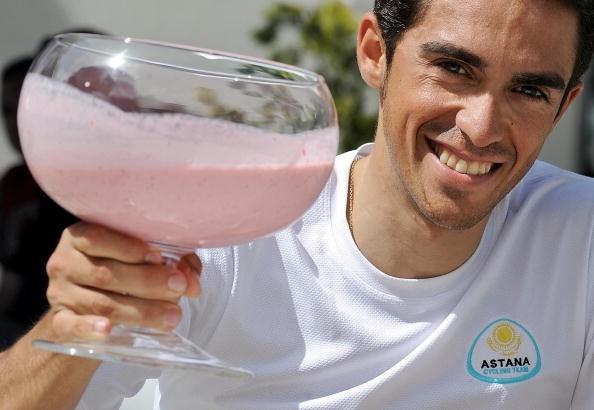 Astana's Alberto Contador enjoys a pink milkshake on the Giro's second rest day.