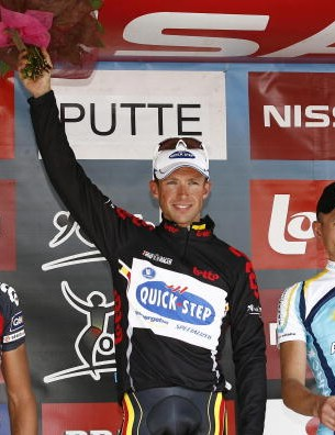 QuickStep's Stijn  Devolder (C) won the Tour of Belgium Sunday.