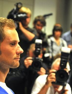 Tom Boonen faces the media music Wednesday morning.